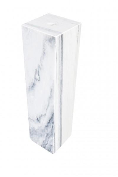 Säulen 25x25x100 cm, gebohrt, white/grey marble