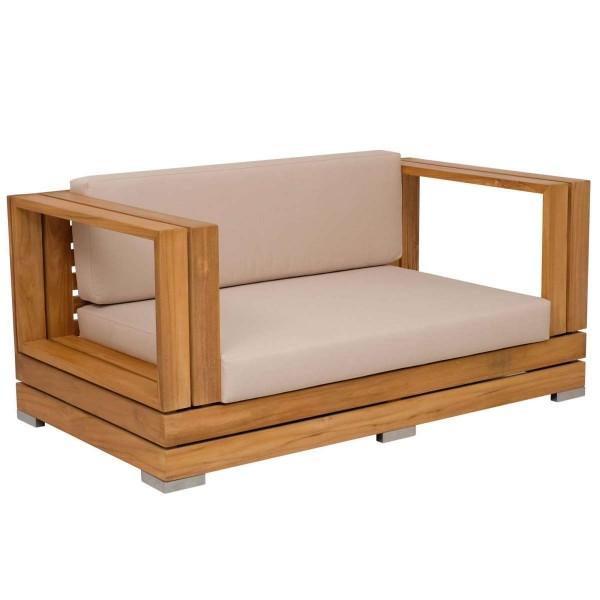 Outdoor Sofa Korsika 2-Sitzer Teakholz Edelstahl | Teako Design