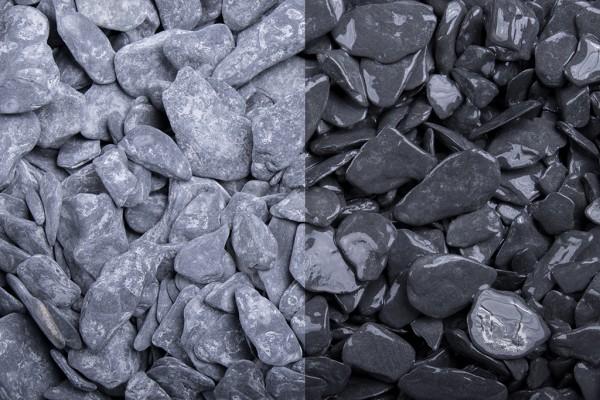 Naturstein getrommelt | Canadian Slate schwarz | Körnung 15-30 mm