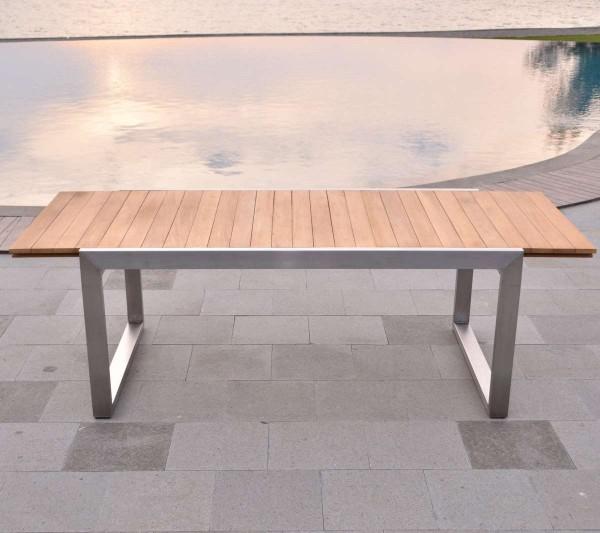 Esstisch Baitone Edelstahl Teak Massivholz | Teako Design